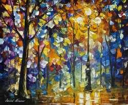 1 hour video lesson of Leonid Afremov painting a night Landscape in download form (The Light of Magic)
