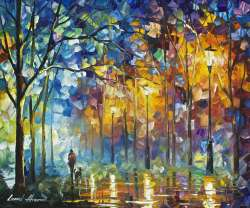 1 hour video lesson of Leonid Afremov painting a night Landscape in download form (Friends Forever)