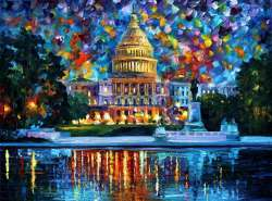 "Capitol at night Washington 60""x40"" (150cm x 100cm)"