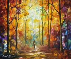 1 hour video lesson of Leonid Afremov painting a Autumn Landscape in download form [ auction ]