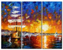 "THE SUNSET SAILER  set of 3 paintings 16""X40"" each"