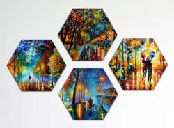 Set of 4 stretched paintings