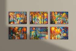 Set of 6 stretched paintings