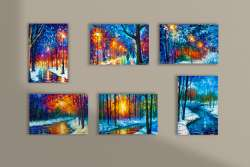 Set of 6 stretched unique paintings