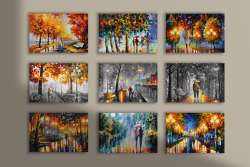 Set of 9 stretched paintings