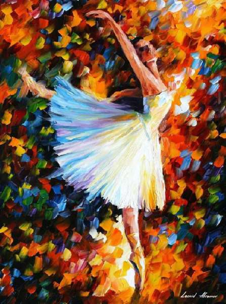 leonid afremov dancer, leonid afremov ballerina, ballet oil painting