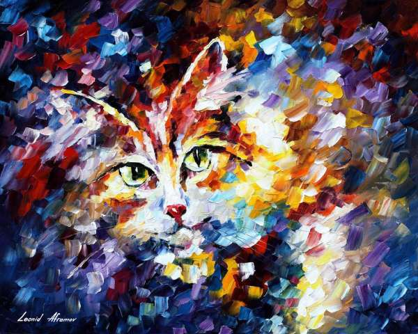 famous cat paintings, cat oil painting, leonid afremov cat, oil painting cat, cat painting oil, oil paintings of cats