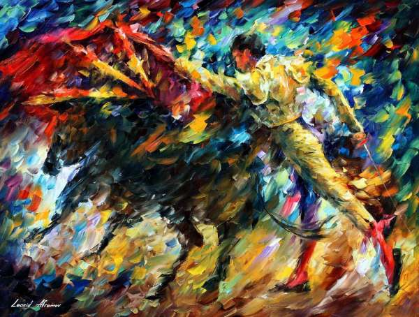 Leonid Afremov, oil on canvas, palette knife, buy original paintings, art, famous artist, biography, official page, online gallery, large artwork, fine, animal, pet, bull, corrida, bullfight, sport, toreador