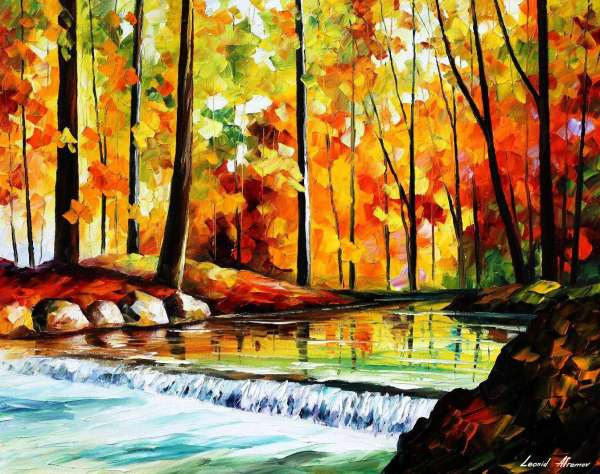 Stream In The Forest Palette Knife Oil Painting On