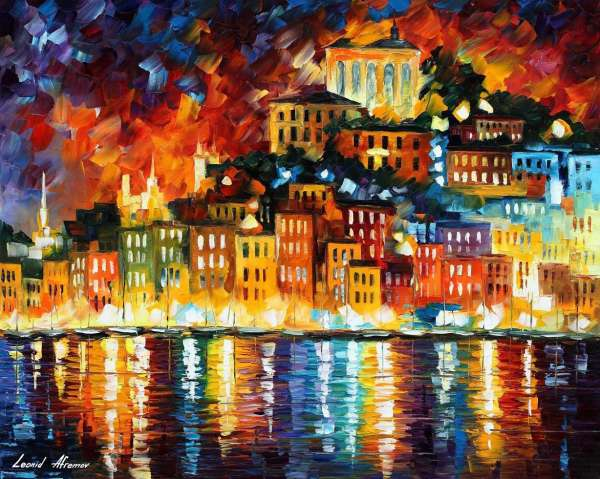 Leonid Afremov, oil on canvas, palette knife, buy original paintings, art, famous artist, biography, official page, online gallery, large artwork, fine, water, boat, sea, scape, pier, dock, night, calm, yachts, harbor, shore, rest, ship