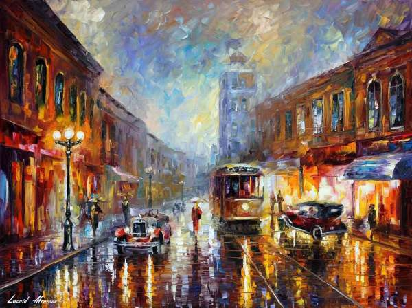 Leonid Afremov, oil on canvas, palette knife, buy original paintings, art,  famous artist, biography, official page, online gallery, scape,  outdoors, autumn, town, park, scape, leaf, fall, european cities,  city, night, streets, rain, usa