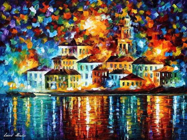 COLORFUL NIGHT HARBOR