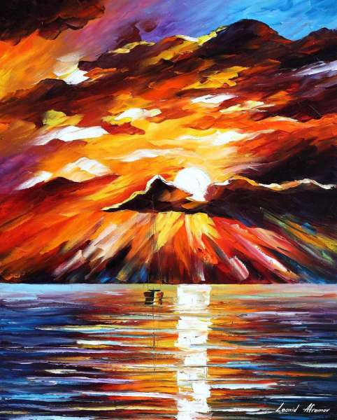 Leonid Afremov, oil on canvas, palette knife, buy original paintings, art, famous artist, biography, official page, online gallery, large artwork, sunset, water, boat, sea, scape, pier, dock, night, calm, yachts, harbor, shore, rest, ship, regatta, sailer
