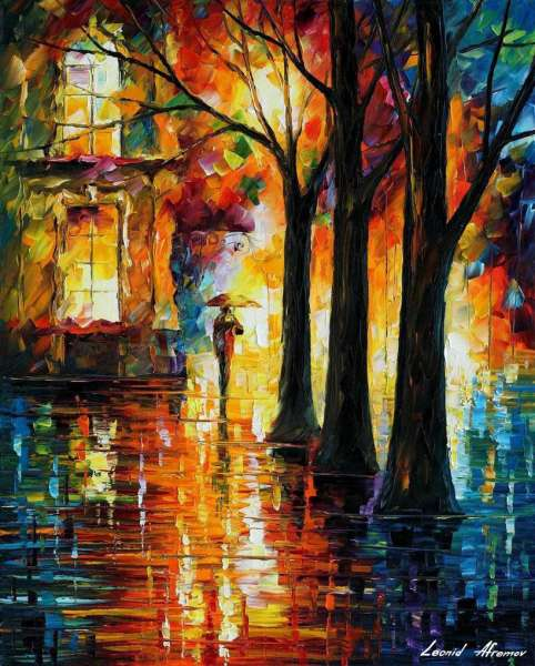 Leonid Afremov, oil on canvas, palette knife, buy original paintings, art,  famous artist, biography, official page, online gallery, scape,  outdoors, autumn, town, park, leaf, fall, European cities,  city, night, streets, rain, Israel, Jerusalem