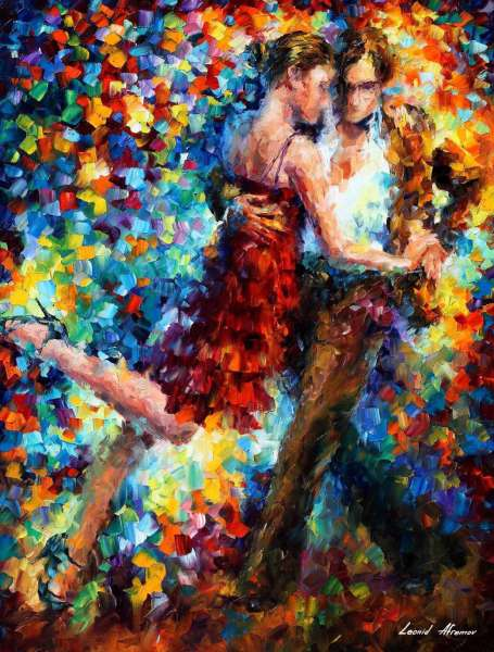 Leonid Afremov, oil on canvas, palette knife, buy original paintings, art, famous artist, biography, official page, online gallery, large artwork, young,  red dress, music, dance, girls, tango
