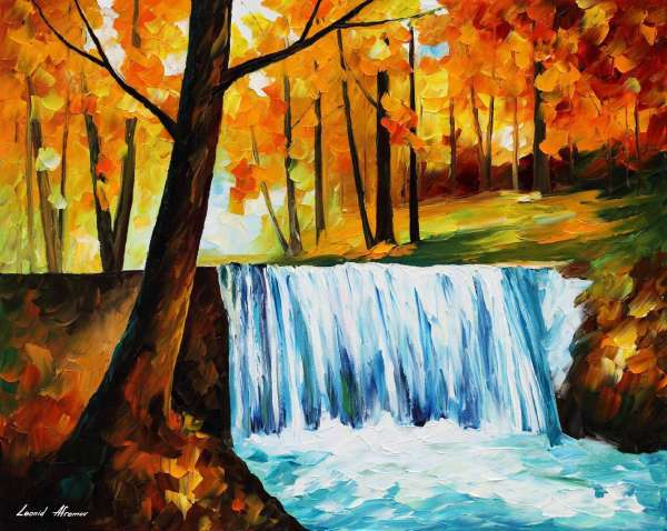 autumn waterfall, famous paintings of waterfalls, oil paintings of waterfalls, waterfall oil paintings