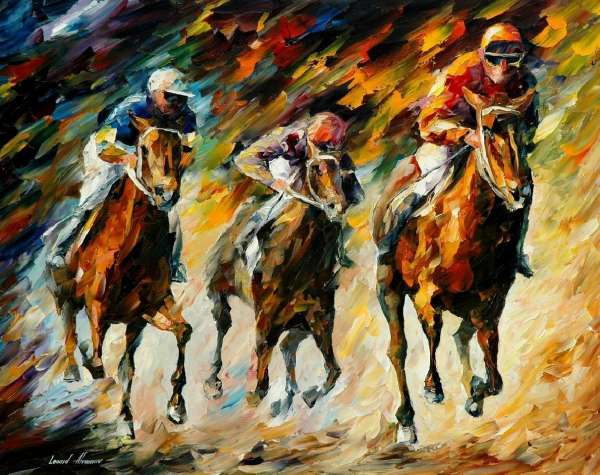 Leonid Afremov, oil on canvas, palette knife, buy original paintings, art, famous artist, biography, official page, online gallery, large artwork, fine, animal, pet, horse, polo, rider, horseman