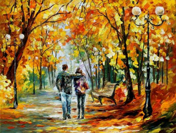 Leonid Afremov, oil on canvas, palette knife, buy original paintings, art, famous artist, biography, official page, online gallery, large artwork, fine, water, landscape, cityscape, fall alley, autumn scene, garden, night park, leaf, rain, walking people