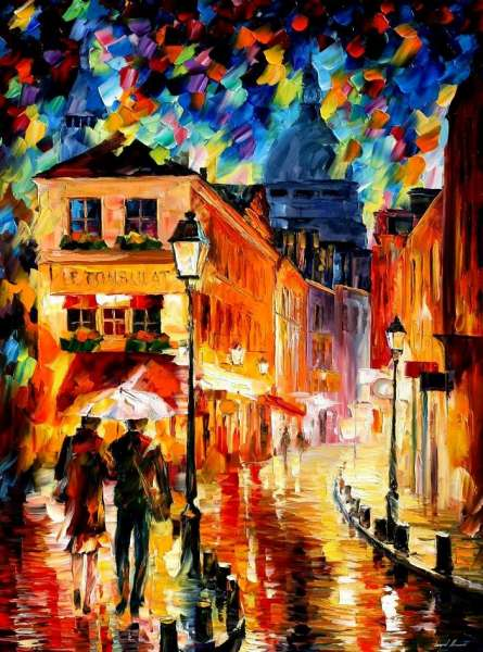 Leonid Afremov, paint, oil, impressionism, abstract, scape, outdoors, autumn, city, online gallery, canvas, buy original paintings, art, fine, famous artist, biography, official page, large artwork, room decor, European cities, balloon, France, town