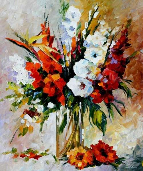 Leonid Afremov, oil on canvas, palette knife, buy original paintings, art, famous artist, biography, official page, online gallery, large artwork, fine, GLADIOLUS
