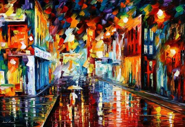 City Under Rain Palette Knife Oil Painting On Canvas By