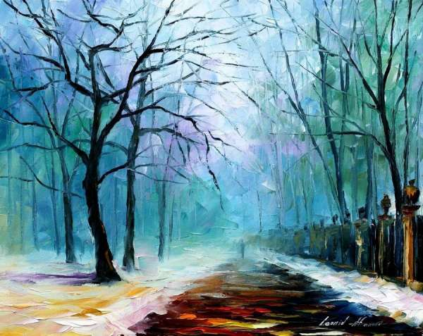 famous winter paintings, winter oil painting, fog oil painting