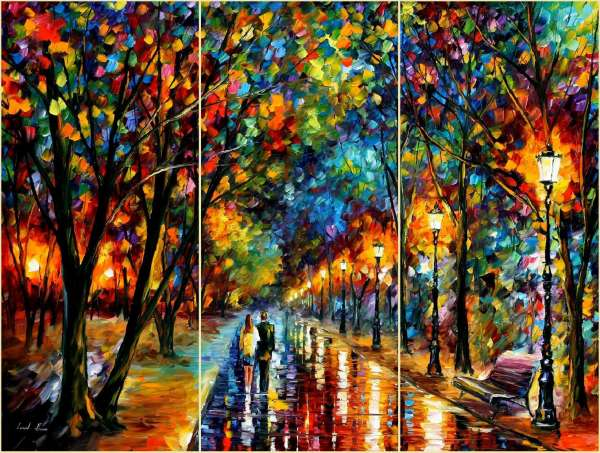 Leonid Afremov, oil on canvas, palette knife, buy original paintings, art, famous artist, biography, official page, online gallery, large artwork, fine, fall alley, autumn, park, landscape, trees, forest, leaf, garden, night, rain, outdoors