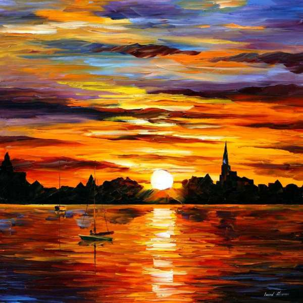 Sunset painting, the sunset painting of a boat in the water
