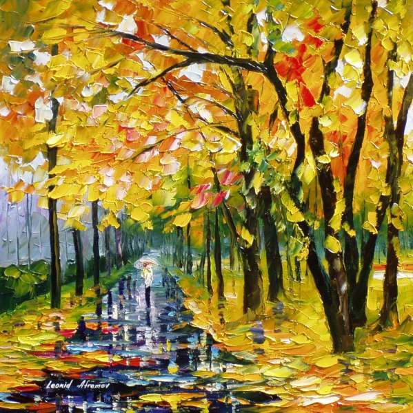 Long-Autumn— PALETTE KNIFE Oil Painting On Canvas By