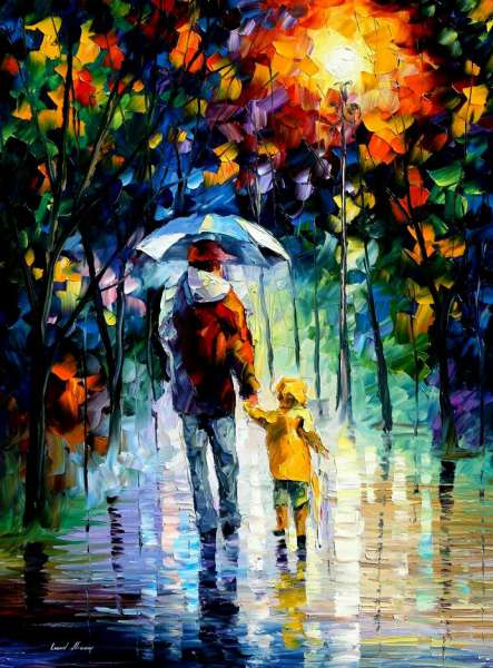 "RAINY WALK WITH DADDY — PALETTE KNIFE Oil Painting On Canvas By Leonid Afremov - Size 36""x48"" (90cm x 120cm)"