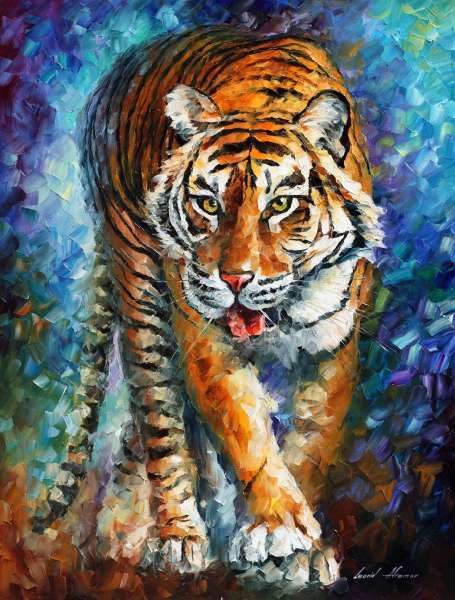 tiger scary, scary tiger, tiger oil painting