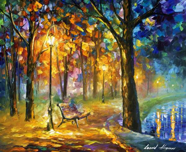 singing, park, leonid, afremov, colorful, color, authenticity, recreation, canvas, oil , palette, knife, landscape, thoughts, nostalgic