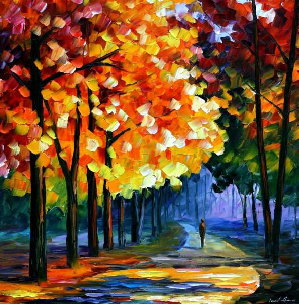 Leonid Afremov, oil on canvas, palette knife, buy original paintings, art, famous artist, biography, official page, online gallery, large artwork, impressioniAsm, landscape, park, walk,