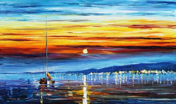 "SUNRISE 2 — PALETTE KNIFE Oil Painting On Canvas By Leonid Afremov - Size 72""x48"""