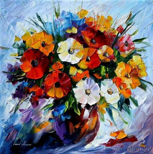 Leonid Afremov, oil on canvas, palette knife, buy original paintings, art, famous artist, biography, official page, online gallery, large artwork, flowers, books
