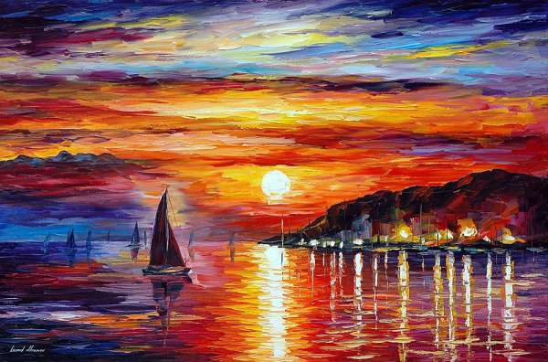 Sunset In The Sea Palette Knife Oil Painting On Canvas