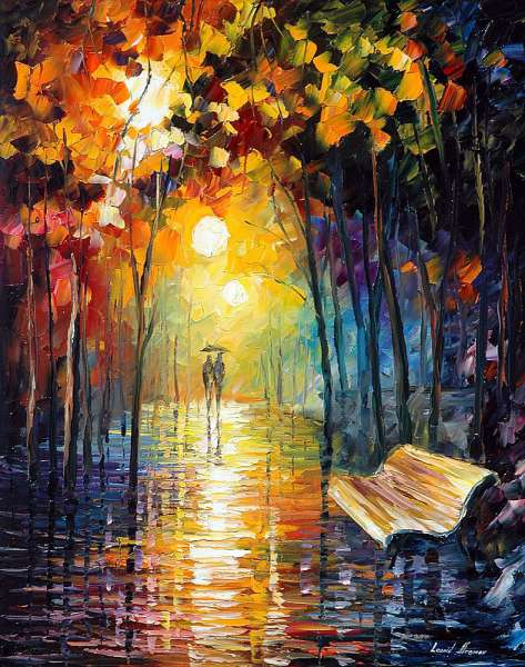 Misty Park Palette Knife Oil Painting On Canvas By