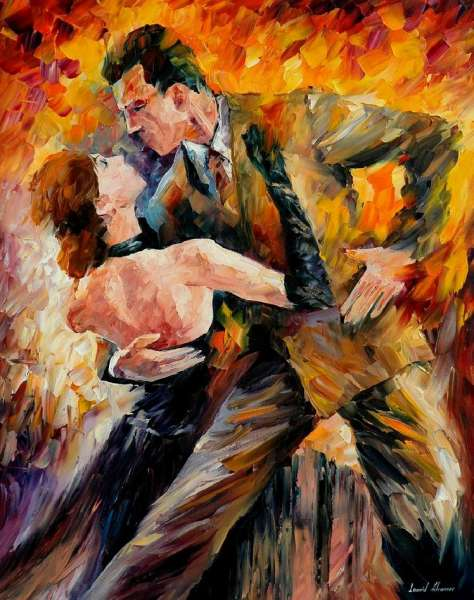 Classical Tango Palette Knife Oil Painting On Canvas By