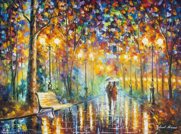 "RAIN'S RUSTLE 3 — Palette Knife Oil Painting On Canvas By Leonid Afremov - Size 40""x30"" (100cm x 75cm)"