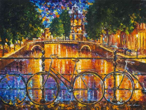 "AMSTERDAM - THE BRIDGE OF BICYCLES —  deposit for PALETTE KNIFE Oil Painting On Canvas By Leonid Afremov - Size 40""x30""  (100cm x 75cm) (deposit)"