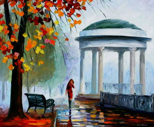 Leonid Afremov, oil on canvas, palette knife, buy original paintings, art, famous artist, biography, official page, online gallery, figures, forest, autumn, couple, umbrella, park, landscape, leaf, fall, walking, people, city, night, streets, rain, fopg