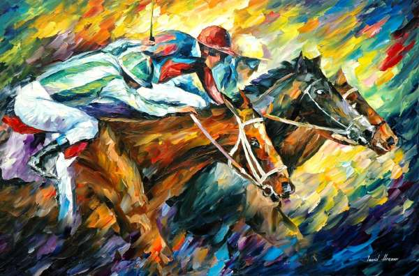Leonid Afremov, oil on canvas, palette knife, buy original paintings, art, famous artist, biography, official page, online gallery, large artwork, fine, animal, pet, horse, rider, race, sport, horseman, competition