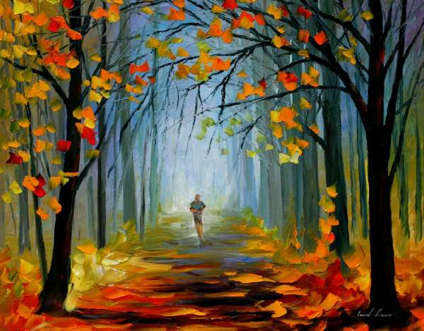 MORNING JOG — PALETTE KNIFE Oil Painting On Canvas By ...