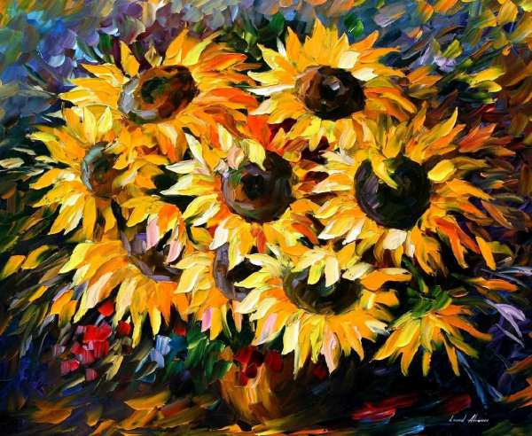 Leonid Afremov, oil on canvas, palette knife, buy original paintings, art, famous artist, biography, official page, online gallery, large artwork, fine, sunflowers