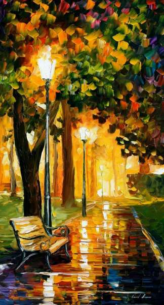 PARK LIGHTS PALETTE KNIFE Oil Painting On Canvas By